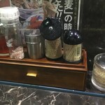 つけ蕎麦 六文銭 - 卓上の調味料(2019.12.25)