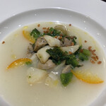 124708514 - 牡蠣と菜の花、金柑、百合根のスープ仕立て