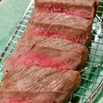 出汁さんろくぼう - 料理写真:イチボステーキ 水分を保湿しながら焼いております