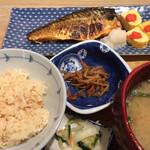 124744103 - ランチ 焼魚(鯖塩焼き)と明太出汁巻定食