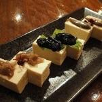 轟屋 - 豆腐珍味三品盛り(スクガラス、スミイカ、ワタガラス)¥580(税抜)