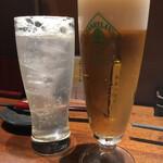 日本酒と蕎麦 中野いざ宵 - ビールとレモンサワー
