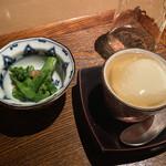 124776824 - 菜の花の和物、美の豆腐