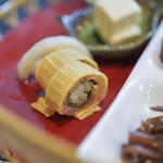 """福久和うち - """"竹筴魚(あぢ)の錦紙卵巻(きんしたまごまき)"""""""