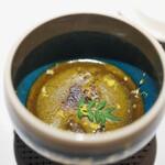 エクアトゥール - 鮑と海老芋のフラン 鮑の肝のソース