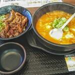 カルビ丼とスン豆腐専門店 韓丼 - 料理写真:カルビ丼ミニと和牛すじ肉スン豆腐セット!寒い時期には良いですね!