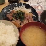 丸五水産 築地青果 - 三元豚ロース網焼きポン酢定食(850円)
