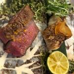 銀座 和らん - ノドグロ唐墨焼き 和牛フィレステーキ