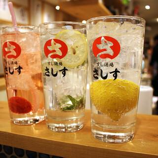 お酒はレモンサワー(各190円)を中心に30種類をご用意!!