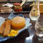 長瀬 すし富 - 料理写真:コロと大根 & 冷酒(加茂鶴 大吟醸)