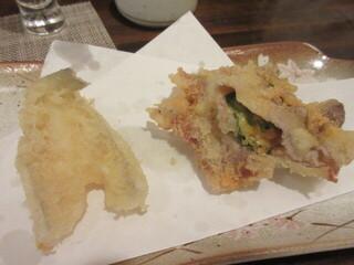 天ぷら 飛鳥 - 2品目と3品は、キスと、豚チェダーチーズ