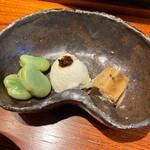 124968602 - 空豆、汲み上げ豆腐、たらこの煮こごり