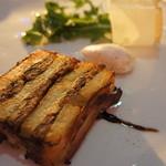 RESTAURANT DAZZLE - 三重県産 イワシとジャガイモの温製テリーヌ ベーコンで巻き上げたローズマリー仕立て バルサミコ・ソースとアンチョビのムース(1600円)♥