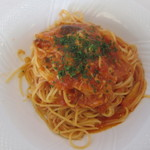 シーバップテラス - ツナときの子のトマトソースパスタ(サラダ、ドリンク付):900円
