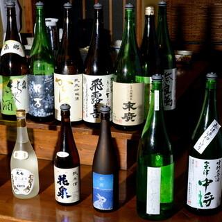 常時40種以上の福島県の日本酒が並ぶ冷蔵庫セルフで楽しめる!