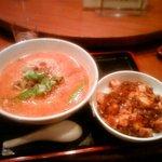 四川亭 - ランチの担々麺と麻婆丼(850円)です
