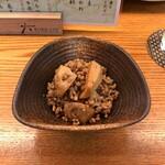 立ち呑み処 おか田 - 里芋とひき肉の揚煮