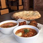 インドネパール料理 ミヤギディ - レディースセット。ナンはチーズナンに変更