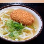 さか枝うどん - コロッケうどん(かけうどん+コロッケ)
