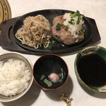 肉の匠 将泰庵 - 飲めるハンバーグ御膳 300gのおろしポン酢 これに小鉢2品、サラダが付いて1,680円
