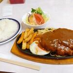 若竹 - 料理写真:ハンバーグ(サラダ付)960円+ライス200円