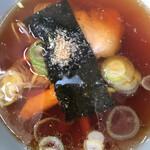 丸福 - つけ麺スープ上から