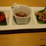 喜鈴 - C前菜(トマト、クラゲ、鶏ささみ)