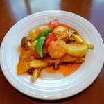 美味餐庁 - ビールセットの海老チリ