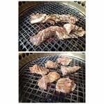 韓国料理 ジンジュ - 上=こんなカルビが3枚 下=ハサミでカットした肉