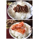 韓国料理 ジンジュ - 上=オンザライス 下=キムチをライスにオン