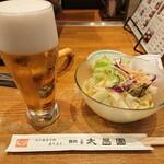 上野 太昌園 - ランチビール&セットのサラダ