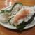 魚虎 - 料理写真:明太子おむすび 450円、割ったところ