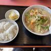楓林 - 料理写真:チャンポンA 1,200円 (チャンポン(小)、餃子(5ケ)、漬け物、ご飯)