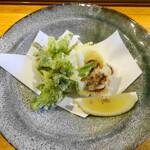 125334128 - 天ぷら盛り合わせ:ふきのとう・菜の花・ヤリイカ