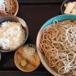 そば切りやすべえ - 料理写真:もつ煮込みと蕎麦のセット。