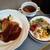 ボンジュール - 料理写真:この日の日替わりは三元豚ロース肉のカツレツ、デミグラスソース、オニオンスープやサラダバー付き970円