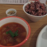 12538264 - ランチのスープと玄米ご飯