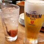 Kushina - 生ビールと梅干しサワー