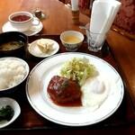 フレグランス - 料理写真:日替わりランチの手作りハンバーグステーキ卵添えとセットのパリの焼き栗の紅茶 税込700円+100円