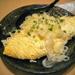 蕎麦処 まち庵 - 納豆オムレツ!マヨネーズとネギの組み合わせは妙だがオムレツとしてはナイスルックス!