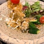 旬の鮮魚と魂の煮込み ぶん福茶がま - パリパリポテトサラダ
