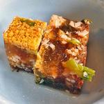 おかず厨房 - 「厚切豚の和風ステーキ定食」の小鉢(鶏の煮こごり)