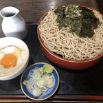 花月庵 - つけとろそば650円 サービスの天ぷらがついてくる