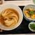 うだま - 料理写真:うだま@梅田店 ランチセット ひやかけ・中増量+ごましそ とり天丼(950円)
