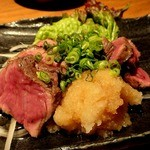 沖縄料理 馳走屋 楽 - 石垣牛のたたき ¥900