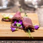 RAMA - 鴨胸肉のカルパッチョ、South Coast Wineryのバルサミコ