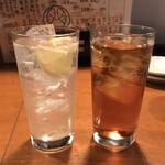 酒の魚 和海 - レモンサワーとウーロン茶