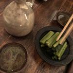 125620507 - 熱燗と野沢菜