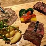 125622269 - 1ポンド3種ステーキ食べ比べ(A4和牛赤身、オーストロース、霧島豚) 2,980円