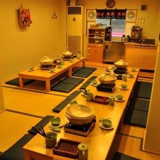 2階のお座敷は24名様まで収容可能!畳でゆったりとお食事をお楽しみ下さいませ。
